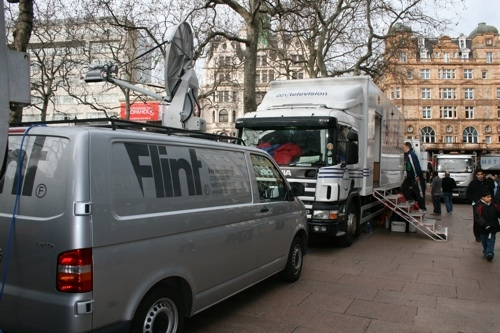 Flint's IP truck in Leicester Square for live webcast