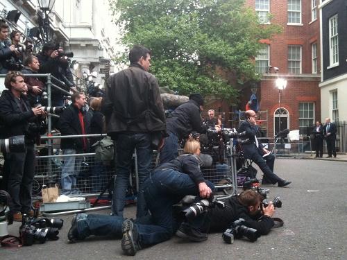 BBC's Nick Robinson waiting for Gordon Brown