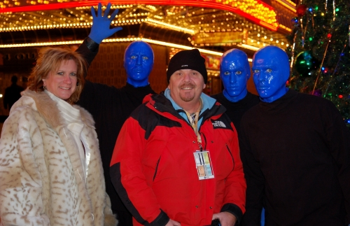 Rob and Kristin with Blue Man Group in Las Vegas after LIVE shot