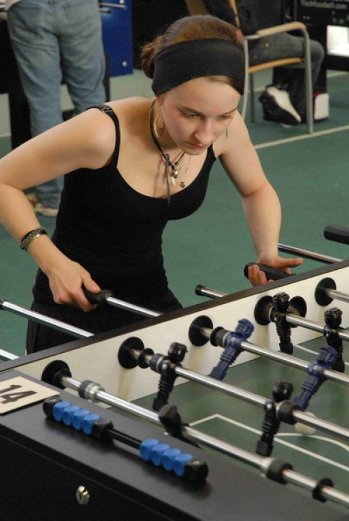 The game is known in some countries as Foosball, but in Germany it's called Kicker