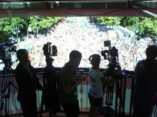 We were shooting for Aljazeera from this great vantage point (plus we had the shade!)
