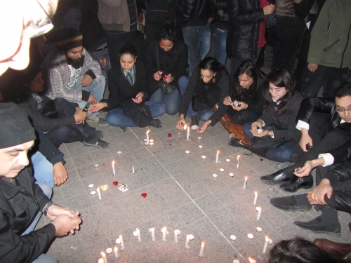 Tunisia Revolution, Tunisian Youth light candles at Ave Habib Bouguiba in memory of the heroes who sacrifised their lives for us to live in freedom.