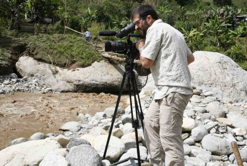On assignment in remote areas of Colombia. Unai Aranzadi is a filmmaker from www.independentdocs.com specialized in armed conflicts and human rights.