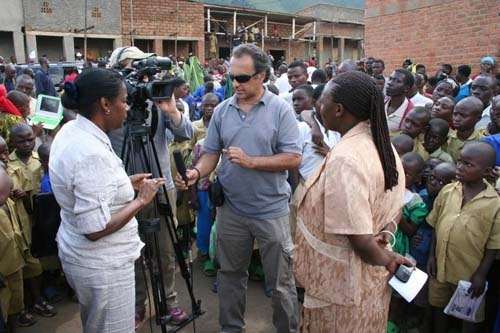 Faridoun Hemani with UNIDO's Fatin Ali Mohamed and the mayor of the Musanze district where the Mutobo plant is located