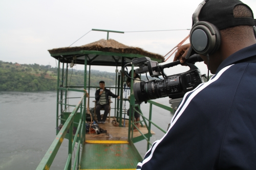 On top of the Bungee jumping tower in Eastern Uganda
