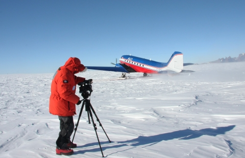 Filming in Antarctica.