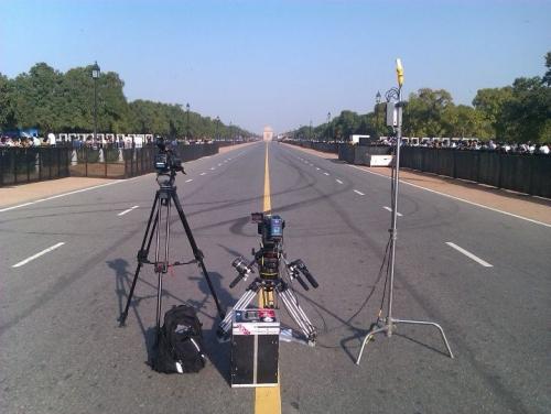 Filming in New Delhi.