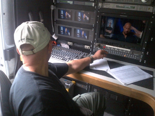 Linx engineer Alex Korepanov oversees live transmission from Budapest of interviews with Dwayne \'The Rock\' Johnson to 12 stations from all over the USA. His new series \'The Hero\' premieres this week in America. Linx provided full crewing and transmission services for this assignment.