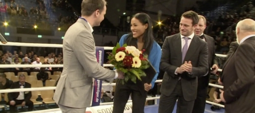 Norwegian broadcaster TV2 requested a shooter, editor to cover the WBC award ceremony in beautiful Bamberg with the rather attractive Cecilia Braekhus, who was awarded the best female boxer prize. We shot XDCam HD, edited behind the scenes, uploaded to Norway and hey presto, one hour later it was broadcast nationwide