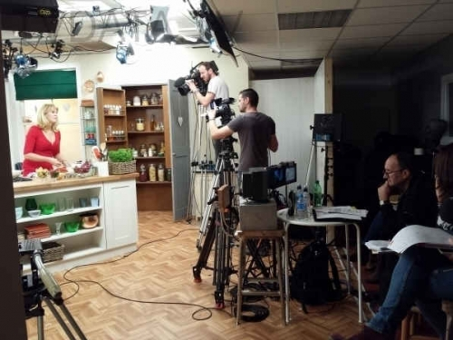 Camera Crew team, producers and presenters are together on a set after filming a cooking program. If you are filming in London, or anywhere in the UK and would need a Russian – English Interpreter with media skills, please contact TVDATA Media In London info@tvdata.tv, + 44 7 463 431133