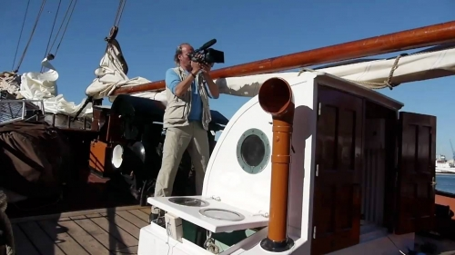 Filming for documentary; 4O days at the Atlantic Santos-Capetown