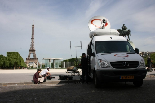 We started in Paris. SNG parked near Eifel tower. Wireless video worked fine, close to this TV tower.
