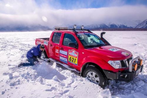 TVDATA.TV crew filming on the surface of frozen Lake Baikal