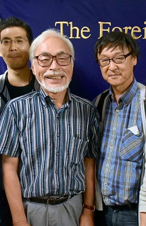 (Left to right) ITM cameraman, Futa Nagao, Hayao Miyazaki and ITM owner, Tomoo Itoh