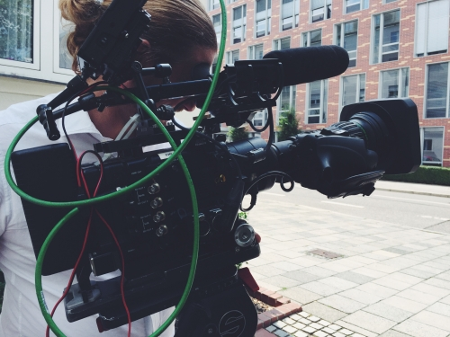 The wonderful SonyF5 out on the streets in Munich shooting a corporate for one of our US clients!
