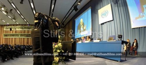 Filming Joseph Stiglitz speech at the UN in Vienna, Austria