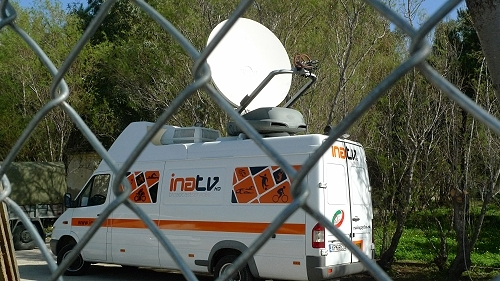 INA TV SNG Van covering the migrant crisis for ZDF.