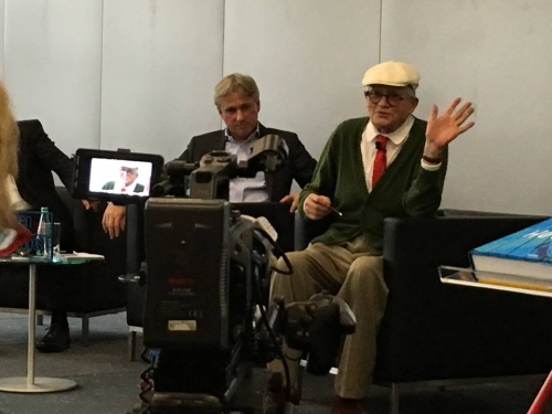 Filming David Hockney at the Frankfurt Book Fair 2016 talking about his iPad drawings.