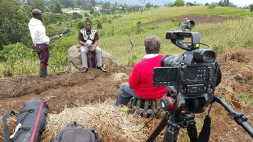 Camera crew filming in Cameroon