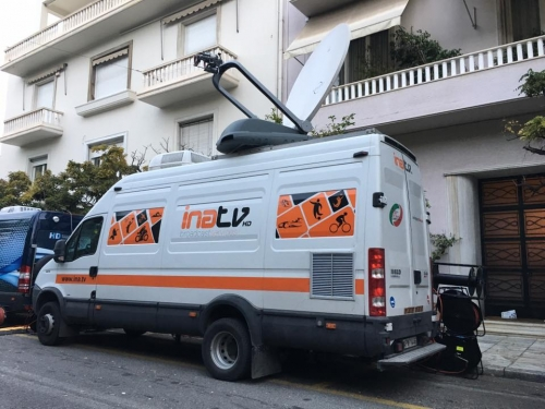 INA TV 6 Camera production at the Presidential Mansion as Barack Obama visits Greece