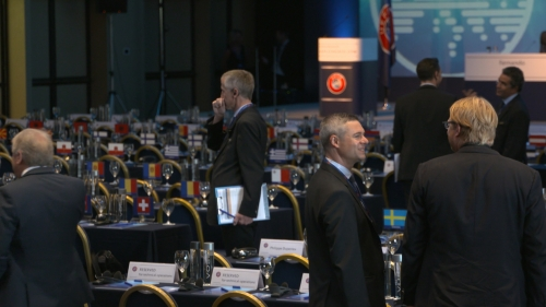INA TV Crew covering the UEFA Presidential Elections