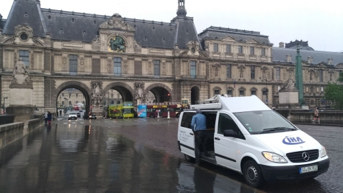 IHA SNG truck positioning itself outside Macron's location on the election day
