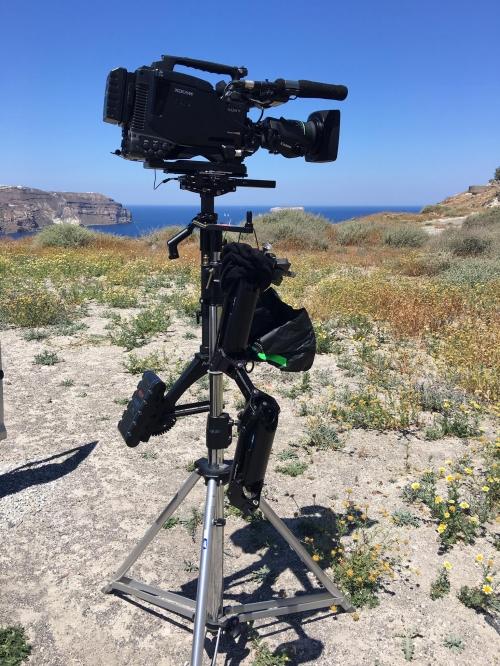 INA TV crew filming in prehistoric sites of Santorini for RAI 1