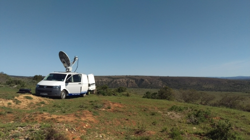 Purple Turtle SNG satellite uplink truck broadcasting ontop of a mountain (with 4x4 access trail) going where few SNG trucks have been before. Making Impossible TV possible. www.purpleturtle.tv