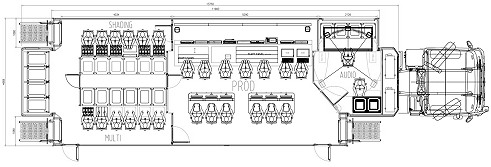 Internal layout of TVLB OB van - China.