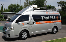 Thai PBS cellular newsgathering van works on 3G/4G networks.